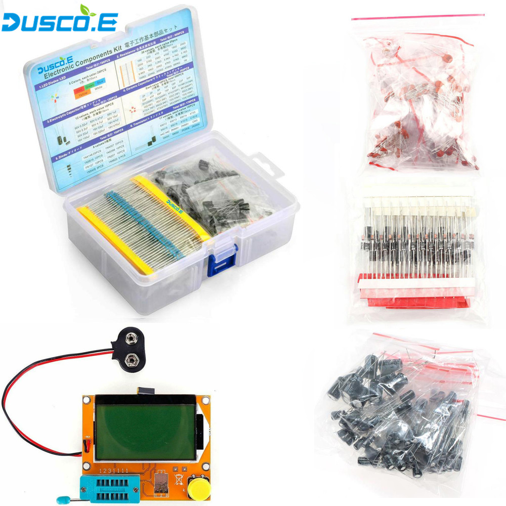 Electronic Component Kit Total 1390Pcs ESR-T4 Digital Transistor Tester LED Diode Triode Capacitance PNP/NPN LCR TO-92 Resistors