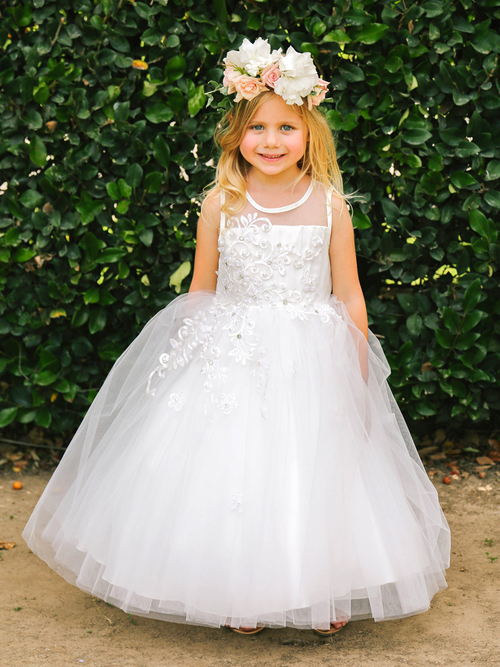 country girls floral first communion dresses sheer neckline sleeveless tulle ball gowns for wedding birthday party 2 12 years