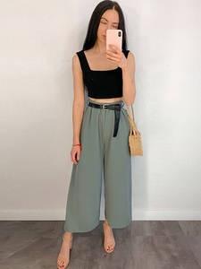 Yanueun Summer Wide Leg Pants Women's High Waist Loose