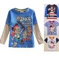 Alta Calidad Jake Jake Y Los Piratas del Neverland Pirata Para Niños Ropa 100% de Algodón de Manga Larga T Shirt