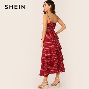 Image 2 - SHEIN Surplice Neck Layered Ruffle Cami Dress Women 2019 Summer Burgundy Spaghetti Strap Fit and Flare Long Slip Dresses