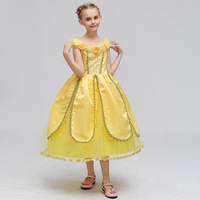 Crefrifuly 3Y 10Y Sleeping Beauty Costume Princess Dresses For Girls Long Yellow Anna Kid Dress Wedding
