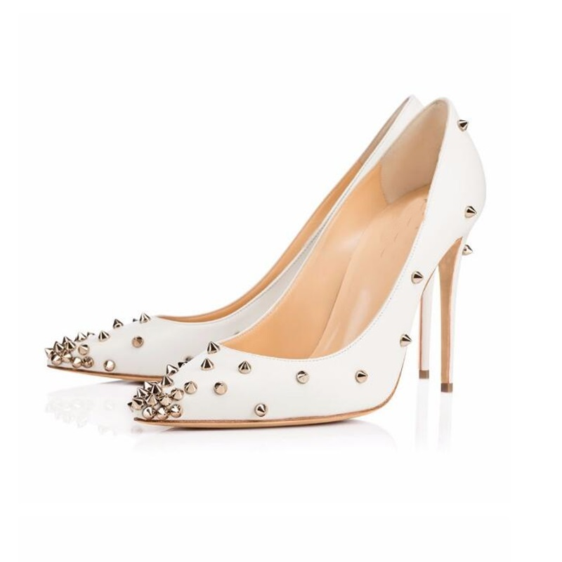 autumn shoes good selling various colors US $29.5 50% OFF|2018 Fahsion Woman Dress Stock Pumps Shoes Pointed Toe  Gold Rivets Studded White Pumps 12 CM or 10 CM High Heels Ladies Shoe-in ...