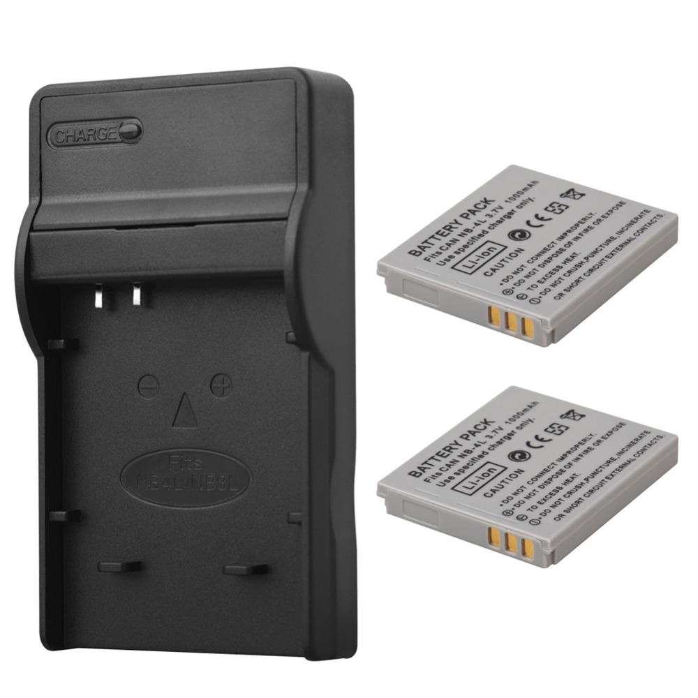 2x 1000mAh NB-4L <font><b>NB4L</b></font> NB 4L <font><b>Battery</b></font> Pack + USB Charger for Canon IXUS 60 65 80 75 100 I20 110 115 120 130 IS 117 220 225