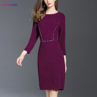 HANZANGL New Arrive Womens Autumn Winter 3 4 Sleeve Beading Dress Work Casual Party Bodycon Pencil