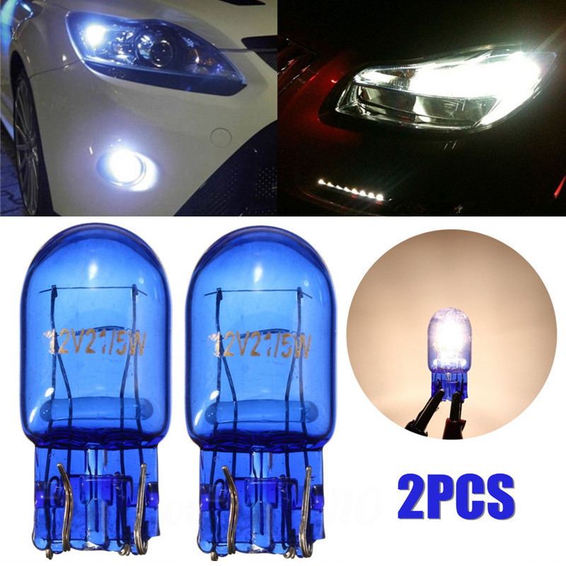цена на 2018 2pcs T20 7443 W21/5W Halogen White DRL Turn Signal Stop Brake Tail Light Bulb Car Lamp Light Headlight Bulbs