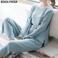 2018 Pajama Set Autumn Sleepwear Women Long Sleeve Knitted Pyjama Nightwear Sleep Set Pajama Top Lounge Pants Loungewear H644