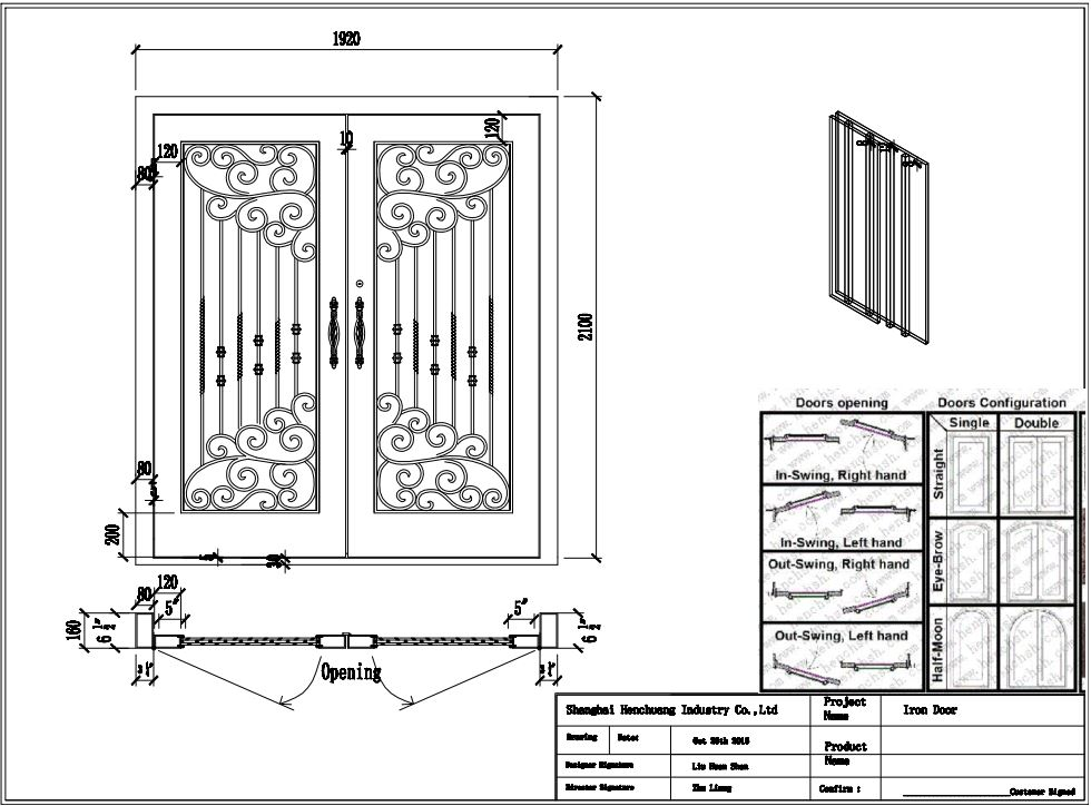Iron Doors 30 Wrought Iron Doors 8mm Clear Glass+ 12 Gauge Steel +8mm Rain Glass Fixed Shipping USA Home Address $3200