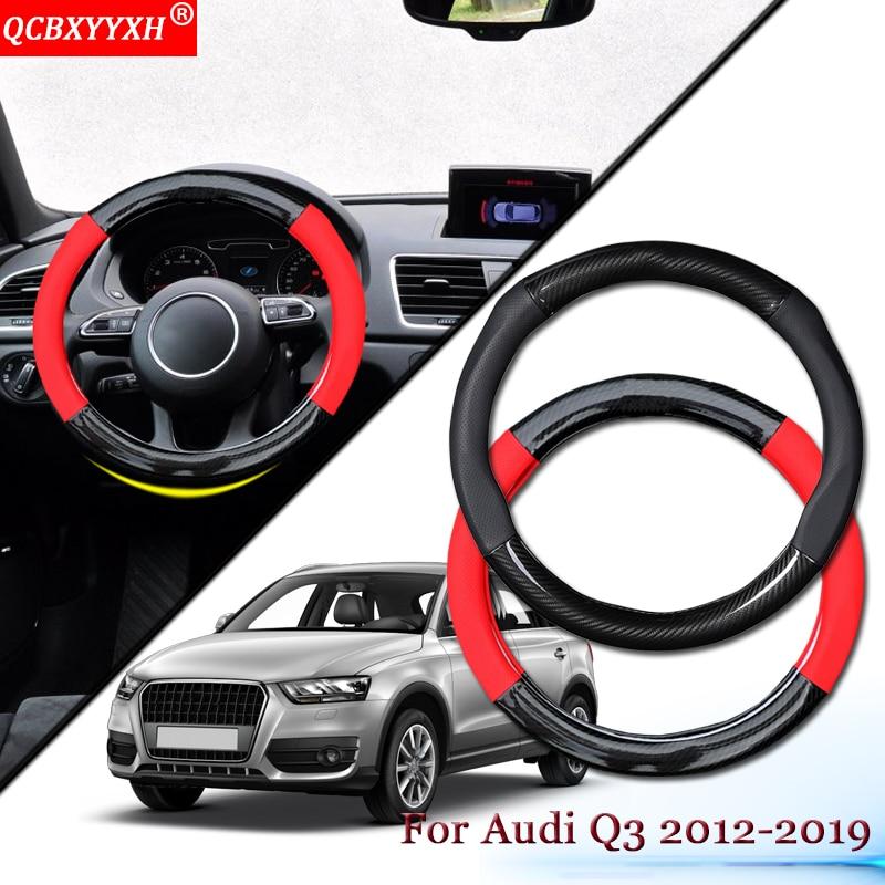 Revêtement de volant de voiture en cuir de Fiber de carbone de style de voiture moyeux de volant de voiture accessoires de voiture d'intérieur pour Audi Q3 2012-2019