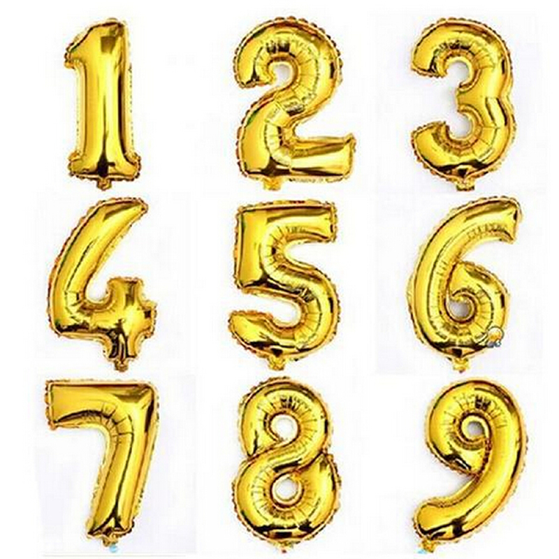 1PC Large 32inch Gold Number Inflatable Toys Big Aluminum Foil Giant Kids Toy Birthday Wedding Party Decora Celebration Supplies