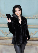 black natural mink fur coat short cheap price sale turn-down collar real natural mink fur coat