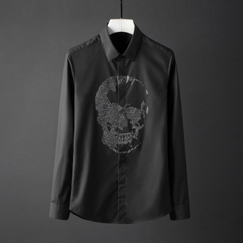 New Solid Color Mens Shirts Luxury Crystal Diamond Skull Long Sleeve Mens Dress Shirts Plus Size 4xl Slim Fit Casual Shirts Man