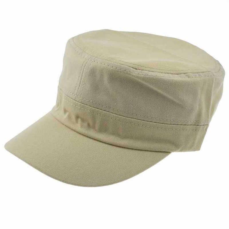 654385a9a14 Summer Autumn Blank Plain Flat Top Military Cap Adjustable Men Dad Hats  Army Green Beige Brown Black Navy