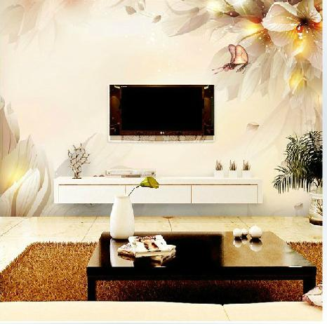 home decoration wall art Large fancy tv background wallpaper mural 3d Customized large mural abstract personality butterfly customized home personalized seamless integration of the abstract paintings lotus wallpaper 1x3m