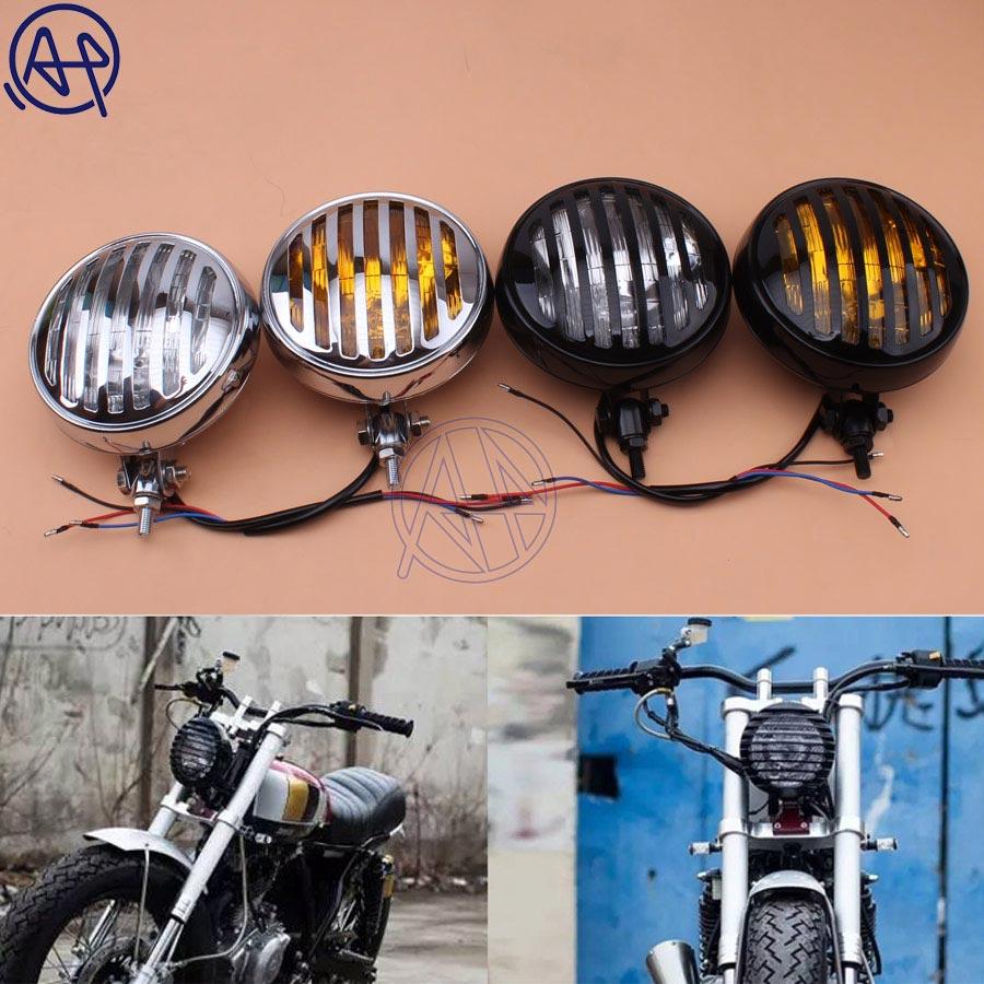 Chrome Amber Motorcycle Grill Retro Vintage Headlight Cafe Racer Bobber Chopper