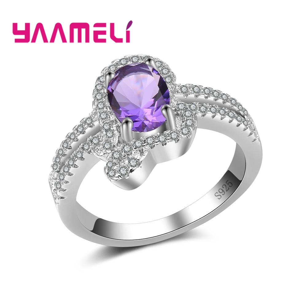YAAMELI Elegant Charm 925 Sterling Silver Jewelry Finger Rings For Ladies With Forvere Clear Shiny Cubic Zirconia Free Shipping