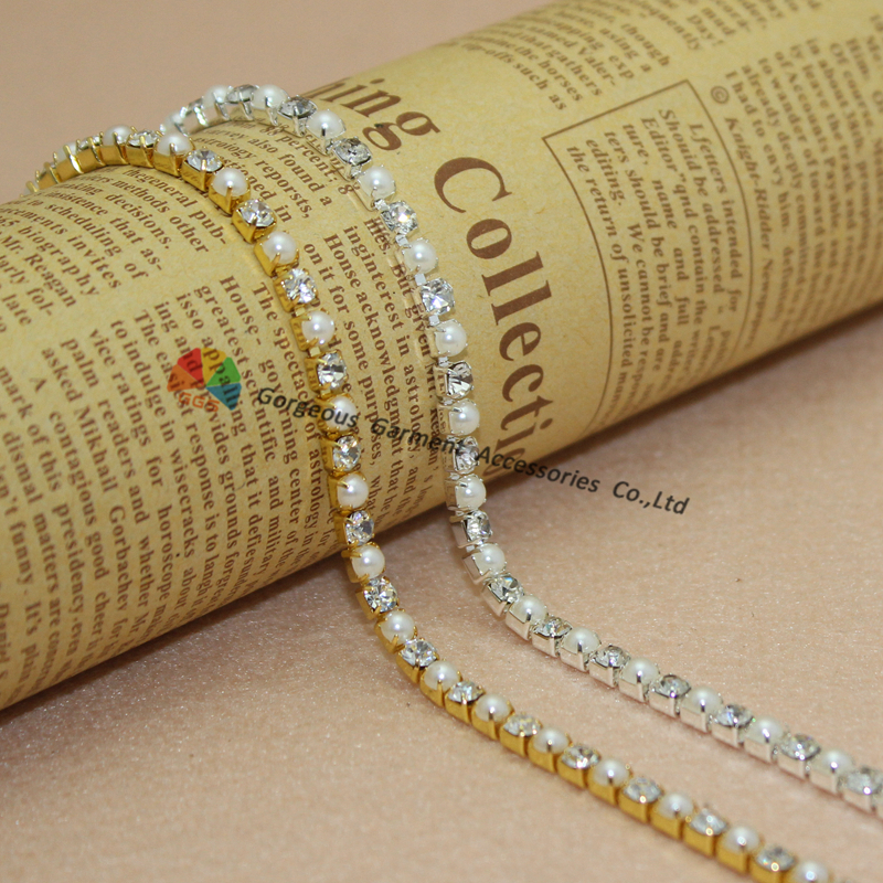 10yards 4mm Shiny close set Czech crystal rhinestone cup chain pearl crystal  alternated Gold Silver Tone For DIY Accessories cb59e1eb7821