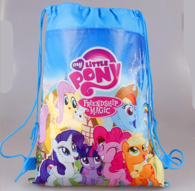 Retail children school bag cartoon backpacks childmy little pony backpack school bags drawstring kid bag