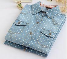 Скидка дамы джинсовые рубашки весной и осенью новые украшения длинным рукавом горошек карман рубашки женская clothing