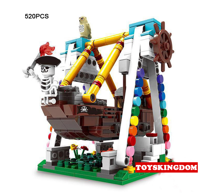Precise Hot City Amusement Park Riders Mini Pirate Ship Moc Building Block Funland Model Bricks Educational Toys Collection For Gifts Toys & Hobbies