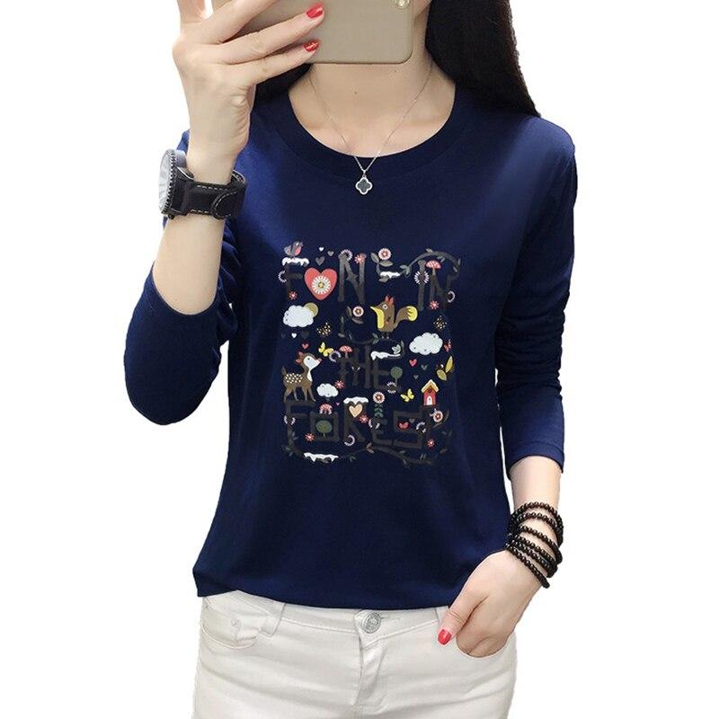 Poleras Mujer 2019 Harajuku T Shirt Women Long Sleeve Autumn Winter T-Shirt Plus Size Tshirt Woman Tee Shirt Femme  Khaki Blue