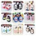 100% Genuíno Couro De Vaca Padrão Dos Desenhos Animados Do Bebê Mocassins de Sola Macia Do Bebê Sapatos Menino Menina Bebê Recém-nascido Berço Sapatos Primeiros Caminhantes