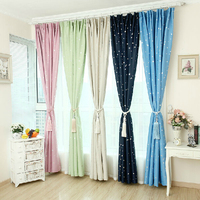 Promotion Curtains French Window Curtain Vorhang Living Room Night Sky Stars FULL Light Shading Blackout Drapes