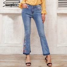 Simplee Embroidery floral blue flare jeans women Zipper pocket denim jean Casual wide leg pants 2018 spring streetwear trouser