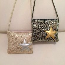 Korean children bag Messenger sequins flash chip pentagram girls wild child baby zipper purse