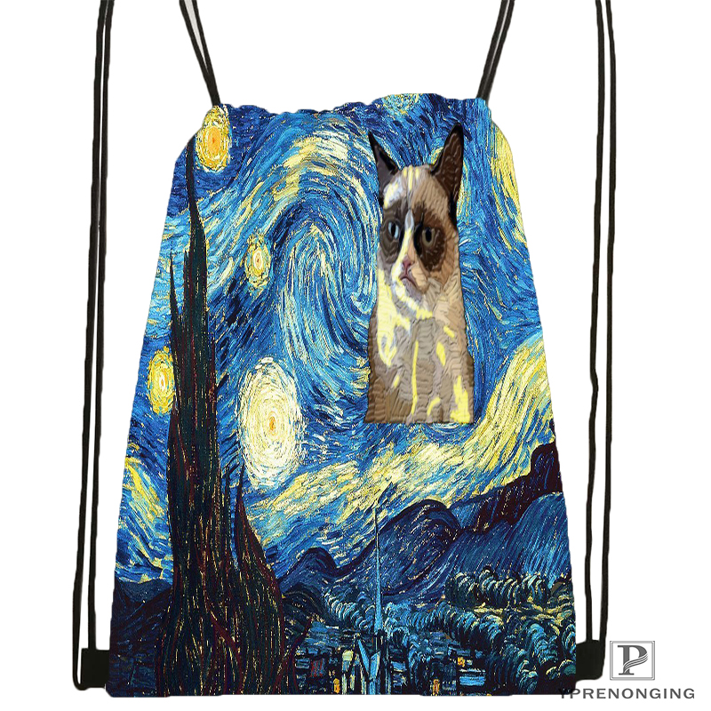 Custom Vincent Van Gogh Starry Night Drawstring Backpack Bag Cute Daypack Kids Satchel (Black Back) 31x40cm#180531-03-52