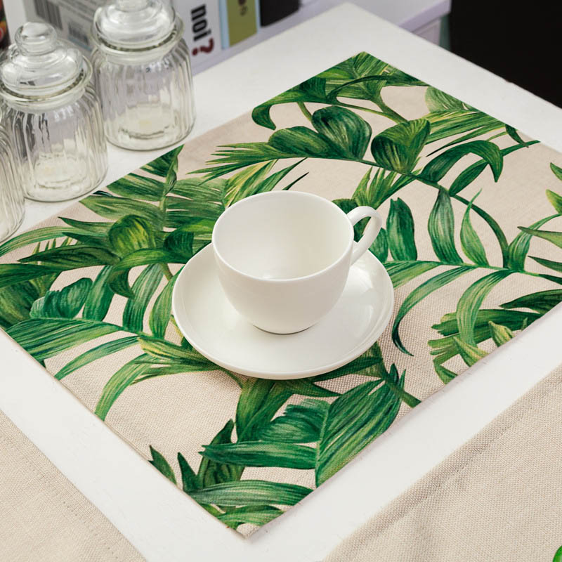 42x32cm Cartoon Cat Pattern Cotton Linen Pad Placemat Insulation Cloth Dining Table Mat Coasters Kitchen Accessories