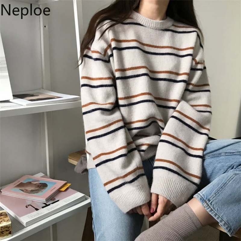 Neploe Student Sweater Pullovers Harajuku-Style Korean Autumn Knitted O-Neck Loose Striped