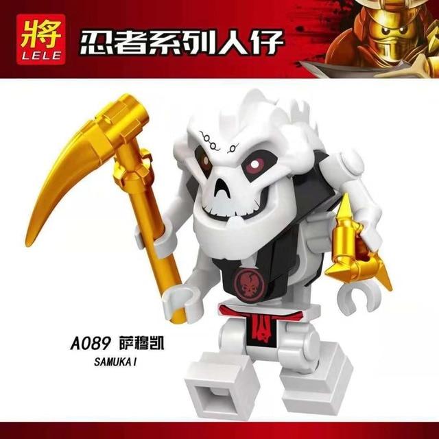 ÚNICO Legoing NINJAGOES Figuras Calaberas Samukai Lloyd GARMADON Com Quatro Mãos Ouro Armas de Ação Brinquedo Blocos de Construção de Brinquedos