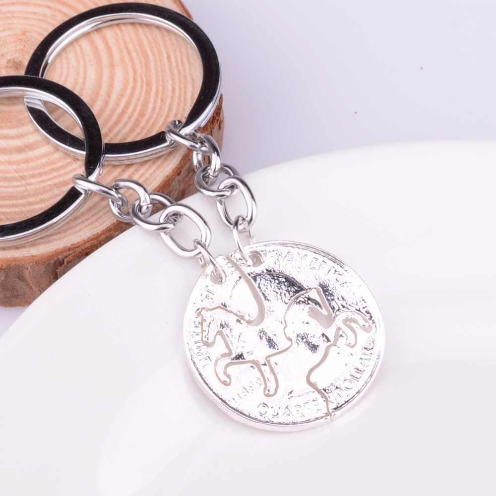 סוסים פאזל בעלי חיים במחזיק מפתחות מחזיקים מפתחות קסם מטבע תליון זוגות BFF חברי אהבת טבעת מפתח Keyring מפתח מחזיק גברים נשים מתנות