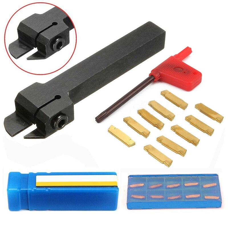 1 set CNC Tornio Utensile da Tornio MGEHR1212-2 Dritto Gambo Noioso Bar + 10 pz MGMN200-G Inserti In Metallo Duro Durevole Cutter