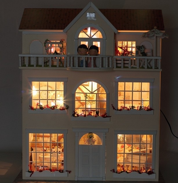 dollhouse lighting. Interesting Dollhouse Fairy Homeland DIY Wooden Dollhouse Lighting Three Storeyed House Gift  Withlightin Doll Houses From Toys U0026 Hobbies On Aliexpresscom  Alibaba Group Throughout