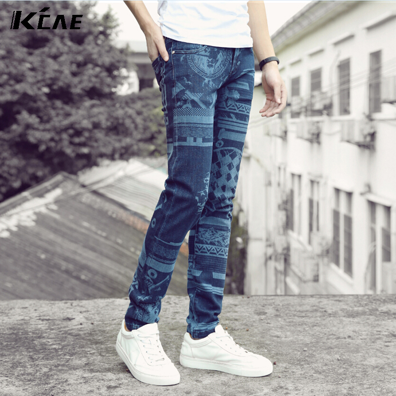 ФОТО New 2016 Slim Fit Printed Causul Men's Pants Skinny Causul Jeans For MEN Clothing Hip Hop