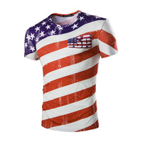 Men Striped Tshirts American Flag Pattern Printed Men 3D T Shirt 2017 Casual O Neck Male