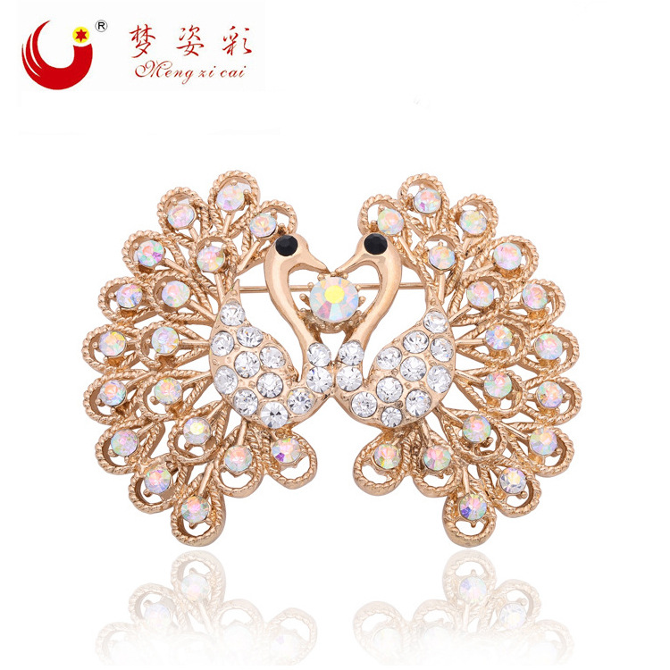 MZC New Colorful Double Peacok Brooch Rhinestone Animal Brooches for Womens Male Bird font b Anime
