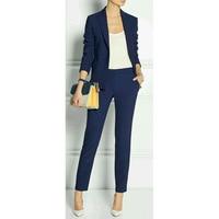 Navy Blue 2 piece set wome suits blazer suit set ladies winter formal suits womens tuxedo female business work suit CUSTOM MADE