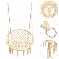 Handmade Knitted Round Hammock Outdoor Indoor Dormitory Bedroom Hanging Chair For Child Adult Swinging Single Safety Hammock