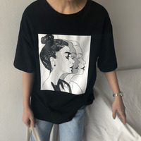 2018 Nowy Korea Lato Cute Girl Obrazu Drukowanie Z Krótkim Rękawem koszulka Damska Małe Świeże Dorywczo Trójniki Topy Kobiet Luźne T koszula
