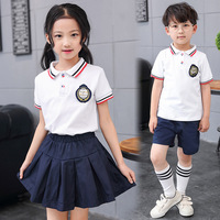 2018 New Summer New Child Class Service Pupils Uniforms Cotton Boys and girls Kindergarten clothes suit Performance clothing