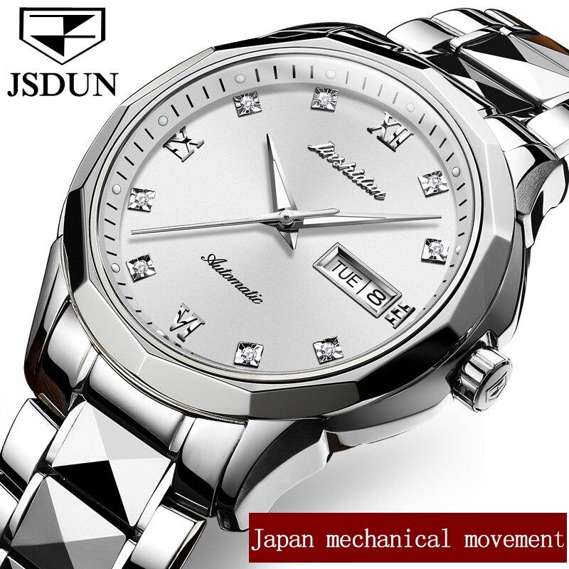 JSDUN Couple Mechanical Watches Week/Date Top Brand Luxury Business Watch Clock Automatic Wristwatch Lover Gifts relogio GL8813