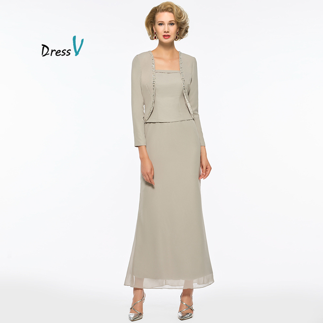 Dressv 3 Pieces Mother Of The Bride Pants Suit With Long Jacket Sleeves For Wedding