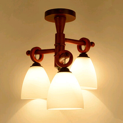 Modern quaint hand-made wood LED pendant lights Elegant rural style glass three lamps for stairs&porch&corridor VPU005