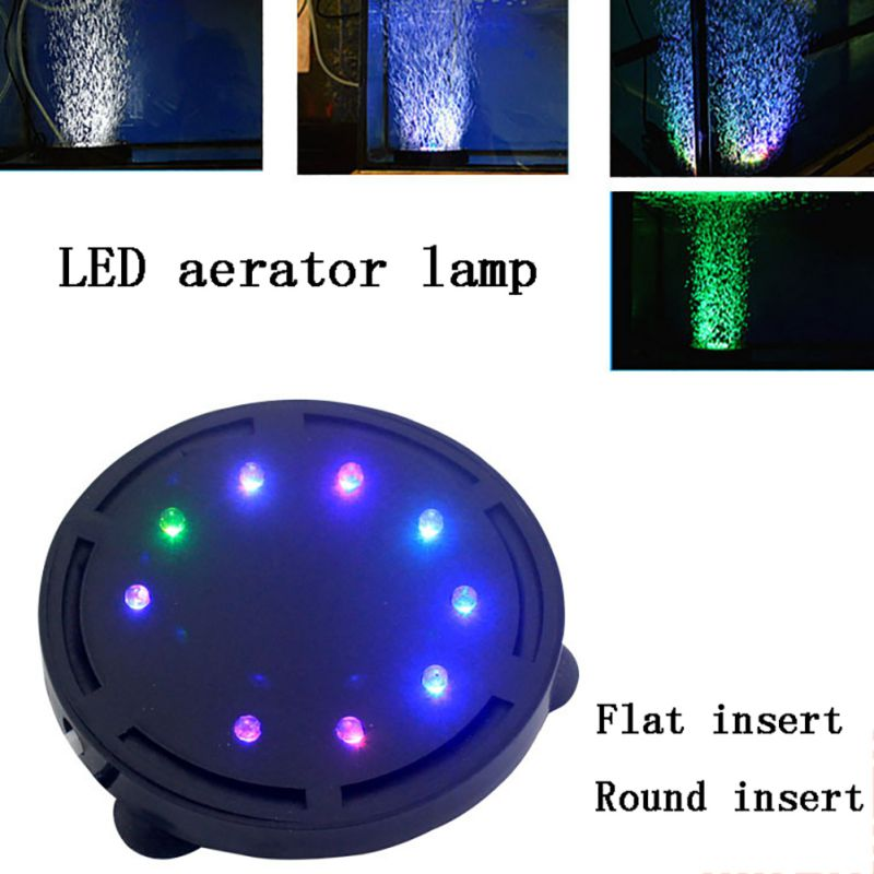 Bubble Stone Aerator for <font><b>Aquarium</b></font> Fish Tank Oxygenation Pump Device <font><b>Aquarium</b></font> <font><b>Round</b></font> Bubble Aeration LED Colorful Waterproof Light image