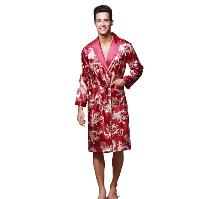 Top Grade Burgundy Male Silk Kimono Kaftan Robe Gown Chinese Men s Rayon Nightwear  Nightgown Loose leisure Bathrobe Sleepwear d44ae6d62