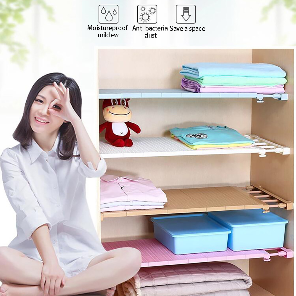 Wardrobe Organizer Bathroom Shelf Retractable Closet Organizer Shelf Adjustable Kitchen Cabinet Storage Holder Cupboard Rack