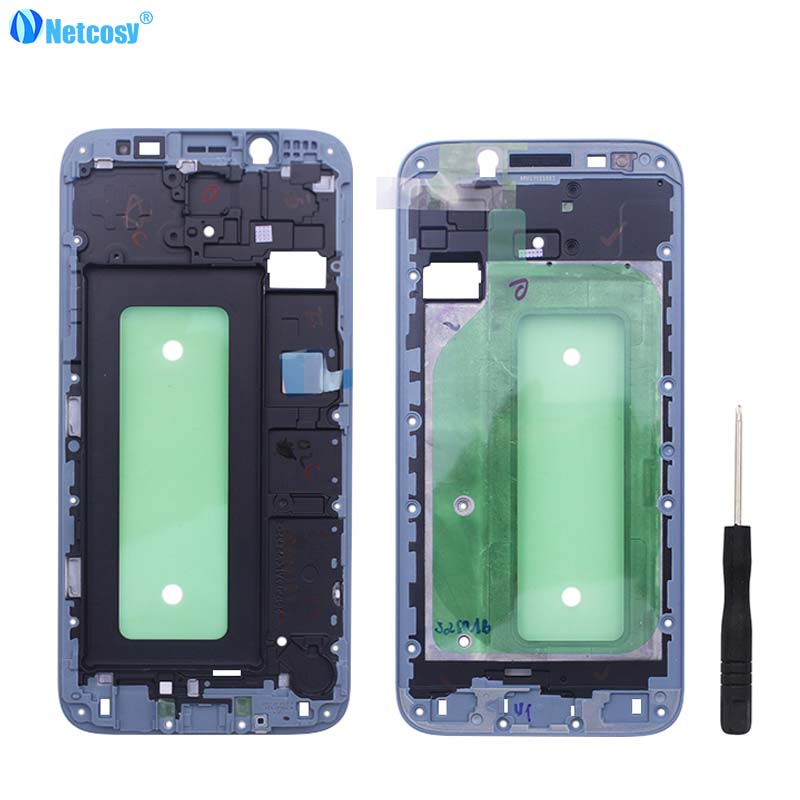 Netcosy Front Frame Bezel Housing LCD Screen Holder Frame For Samsung Galaxy J7 2017 J730 Front Housing Cover +Tools